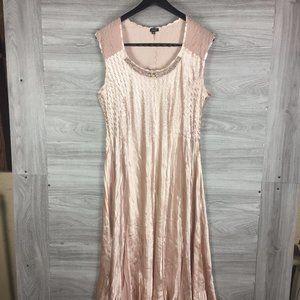Komarov Sleeveless Jewel Chiffon Midi Dress